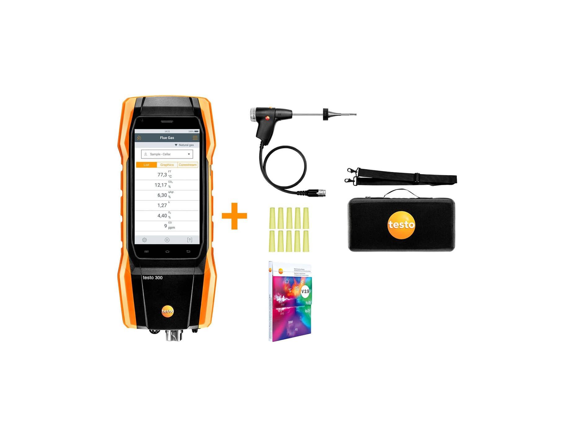 testo 300 kit 2 - flue gas analyzer (O2, CO H2-compensated up to 8,000 ppm)